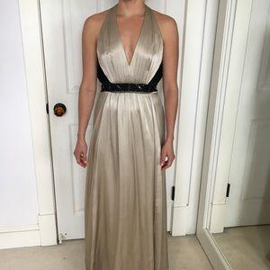 BCBG Max Azria full length, open back silk gown